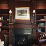 Library Shelving and Fireplace