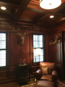 cherry office coffered ceiling and wainscoting