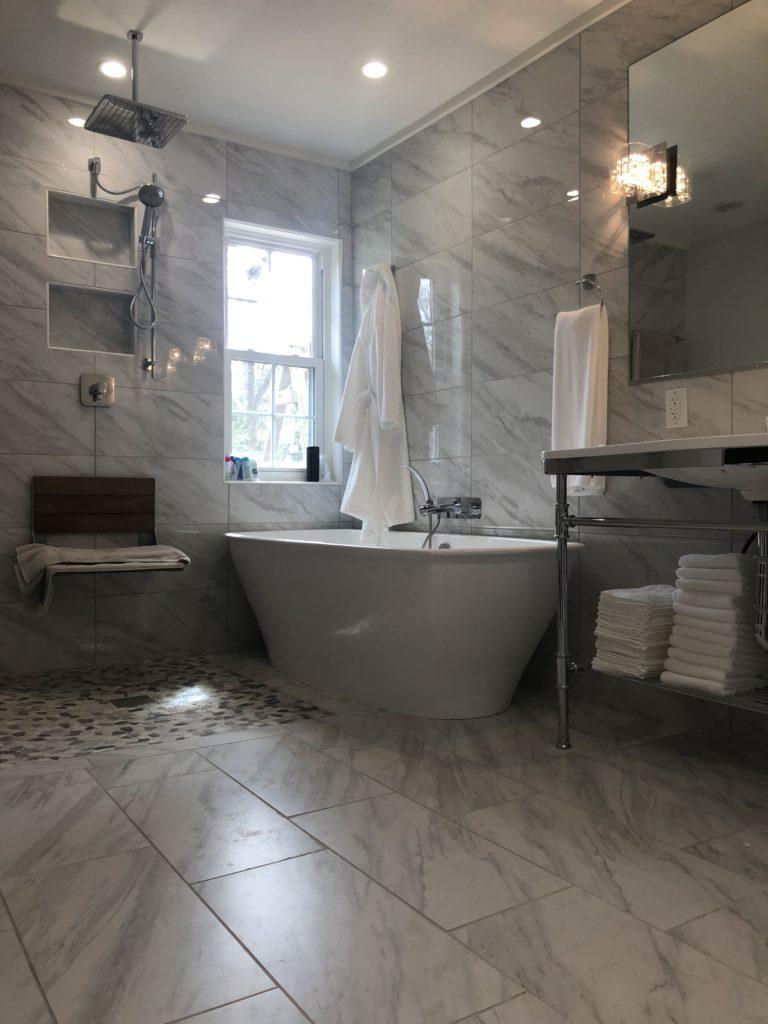 Soaking tub and tile walls